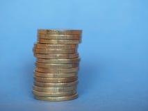 欧洲硬币,在蓝色的欧盟与拷贝空间 免版税库存照片