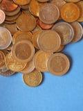 欧洲硬币,在蓝色的欧盟与拷贝空间 库存照片