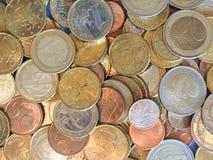 欧洲硬币,欧盟背景 库存图片