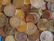 欧洲硬币,欧盟背景 库存照片