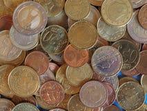 欧洲硬币,欧盟背景 免版税图库摄影