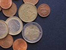 欧洲硬币,欧盟背景 免版税库存照片
