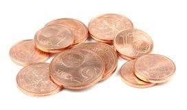 欧洲硬币,隔绝在白色背景 免版税库存照片