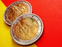 2欧洲硬币:西班牙和欧洲 免版税库存照片