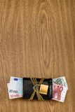 欧洲票据在有金黄链子和挂锁的一个锁着的钱包里 免版税库存照片