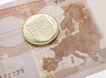 欧洲笔记& 1英镑硬币Brexit概念 免版税库存照片