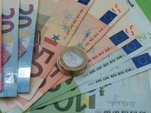 欧洲纸币和硬币,欧盟 库存照片