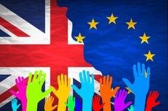 欧洲联合和英国之间的图象相对精明关系 在具体织地不很细背景的国旗 Bre 免版税库存图片