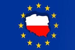 欧洲联盟标志背景的波兰国家 库存照片