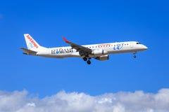 欧洲航空公司波音巴西航空工业公司195 图库摄影
