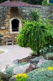 欧洲落叶松在夏天村庄庭院里  免版税图库摄影