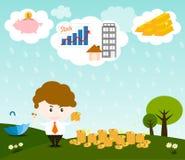 欧洲落的货币雨天空 库存图片