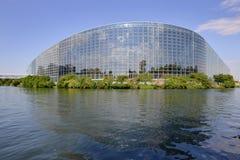 欧洲议会的门面在史特拉斯堡,法国 免版税库存照片