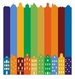 欧洲都市风景 地平线 传统斯堪的纳维亚房子剪影  免版税库存照片