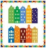 欧洲都市风景 地平线 传统荷兰房子剪影框架  免版税库存图片