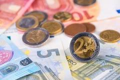 欧洲金钱宏观硬币财政概念 库存照片