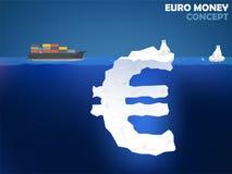欧洲金钱标志的图形设计例证作为冰山的在海洋 库存照片