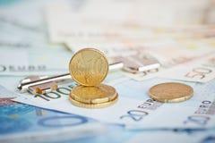 欧洲金钱:钞票和硬币特写镜头  免版税图库摄影