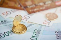 欧洲金钱:钞票和硬币特写镜头  库存图片