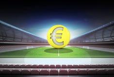 欧洲金黄硬币在不可思议的橄榄球场中场  皇族释放例证