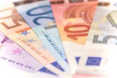 欧洲钞票爱好者,关闭 库存图片