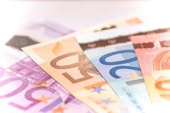 欧洲钞票爱好者,关闭 图库摄影