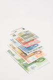 欧洲钞票被扇动的笔记 库存图片