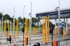 欧洲隧道公司服务登记摊 库存照片