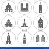 欧洲首都-象设置了(第3)部分 免版税库存照片