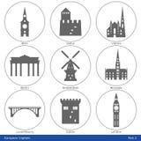 欧洲首都-象设置了(第2)部分 免版税库存图片