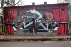 欧洲,意大利,罗马- 12月19 :美好的街道艺术街道画 在墙壁上的抽象创造性的图画时尚颜色 库存图片