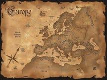 欧洲水平的映射葡萄酒 免版税库存图片