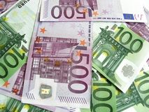欧洲100 500张的钞票 库存照片