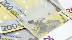 欧洲200张背景的钞票 免版税图库摄影