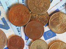 欧洲EUR纸币和硬币,欧盟欧盟 免版税库存图片