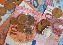 欧洲EUR纸币和硬币,欧盟欧盟 免版税图库摄影