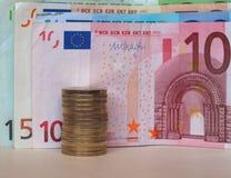 欧洲EUR纸币和硬币,欧盟欧盟 库存图片