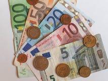 欧洲EUR纸币和硬币,欧盟欧盟 图库摄影