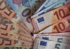 欧洲EUR纸币和硬币,欧盟欧盟 免版税库存照片