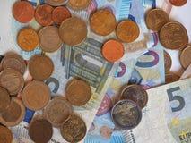 欧洲(EUR)纸币和硬币,欧盟(欧盟) 免版税库存图片