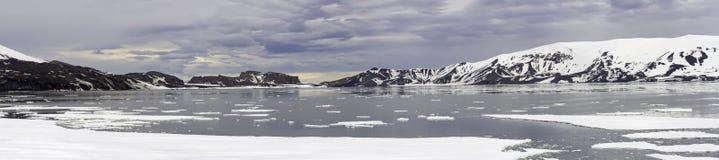 欺骗岛的,南极洲日落全景 库存图片