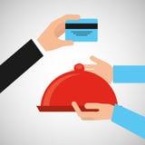 付款信用卡片交付食物盛肉盘盘子 向量例证