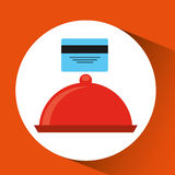 付款信用卡片交付食物盛肉盘盘子 皇族释放例证
