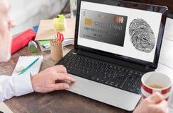 付款在膝上型计算机屏幕上的安全概念 库存照片