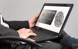 付款在膝上型计算机的安全概念 库存照片