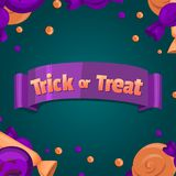 款待窍门 横幅万圣节安排您文本的向量 五颜六色的甜点和糖果象 库存图片
