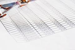 贷款日程表桌板料 图库摄影