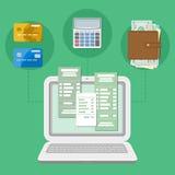 付款的概念通过计算机或膝上型计算机认为税收法案 网上付款 银行卡调动 免版税库存图片
