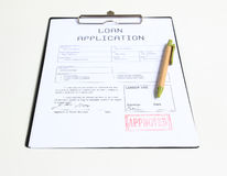 贷款被批准的邮票 免版税库存图片