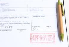 贷款被批准的邮票 免版税图库摄影